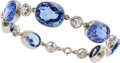 Estate Jewelry:Bracelets, Art Deco Ceylon Sapphire, Diamond, Platinum Bracelet. ...