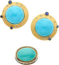 Estate Jewelry:Suites, Turquoise, Diamond, Sapphire, Gold Jewelry Suite, Silverhorn. ...(Total: 2 Items)