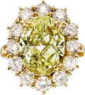 Estate Jewelry:Rings, Fancy Yellow Diamond, Diamond, Gold Ring. ...