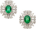 Estate Jewelry:Earrings, Emerald, Diamond, White Gold Earrings. ...