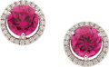 Estate Jewelry:Earrings, Tourmaline, Diamond, White Gold Earrings. ...