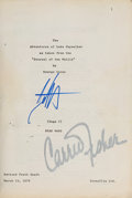 """Movie/TV Memorabilia:Autographs and Signed Items, A Carrie Fisher Signed Script from """"Star Wars.""""... (Total: 2 Items)"""
