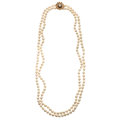 Estate Jewelry:Pearls, Cultured Pearl, Sapphire, Gold Necklace. ...