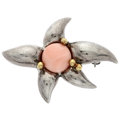 Estate Jewelry:Brooches - Pins, Coral, Gold, Sterling Silver Brooch. ...