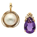 Estate Jewelry:Pendants and Lockets, Mabe Pearl, Amethyst, Gold Pendants. ... (Total: 2 Items)