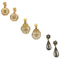 Estate Jewelry:Earrings, Diamond, Gold, Gold-Filled Earrings. ... (Total: 3 Items)