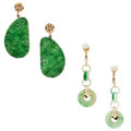 Estate Jewelry:Earrings, Jadeite Jade, Cultured Pearl, Gold Filled, Gold Plated Earrings. ... (Total: 2 Items)