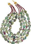 Estate Jewelry:Necklaces, Ruby In Zoisite, Ruby, Gold Necklace. ...