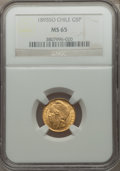 Chile, Chile: Republic gold 5 Pesos 1895-So MS65 NGC,...