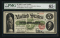 Large Size:Legal Tender Notes, Fr. 63a $5 1863 Legal Tender PMG Gem Uncirculated 65 EPQ.. ...