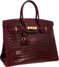"Luxury Accessories:Bags, Hermes 35cm Shiny Bordeaux Porosus Crocodile Birkin Bag with GoldHardware. Very Good Condition. 14"" Width x 10""Heigh..."