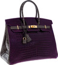 Luxury Accessories:Bags, Hermes Special Order Horseshoe 35cm Shiny Amethyst & Graphite Porosus Crocodile Birkin Bag with Gold Hardware. Pristine Co...