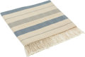 """Luxury Accessories:Bags, Hermes Blue & Beige Rocabar Cotton Fringed Beach Throw Blanket.Very Good to Excellent Condition . 59"""" Width x 79""""Hei..."""