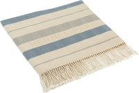 Hermes Blue & Beige Rocabar Cotton Fringed Beach Throw Blanket Very Good to Excellent Condition