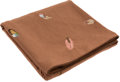 """Luxury Accessories:Home, Hermes Mocha Wool & Cashmere Embroidered Plumes Blanket with Suede Trim. Good to Very Good Condition. 57"""" Width x 81"""" ..."""