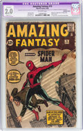 Silver Age (1956-1969):Superhero, Amazing Fantasy #15 (Marvel, 1962) CGC Apparent GD 2.0 Slight (C-1)Off-white pages....