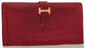 Luxury Accessories:Accessories, Hermes Rouge H Alligator Bearn Wallet with Gold Hardware. ...
