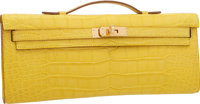 """Hermes Matte Mimosa Alligator Kelly Cut Clutch Bag with Gold Hardware Pristine Condition 12"""" Wid"""