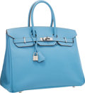 Luxury Accessories:Bags, Hermes Limited Edition Candy Collection 35cm Blue Celeste &Mykonos Epsom Leather Birkin Bag with Palladium Hardware.Exce...