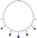 Estate Jewelry:Necklaces, Sapphire, Diamond, White Gold Necklace, Piranesi. ...
