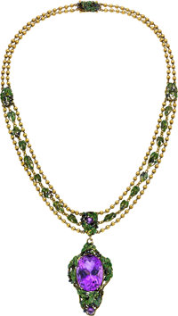 Amethyst, Enamel, Gold Necklace, By Louis Comfort Tiffany, Tiffany & Co