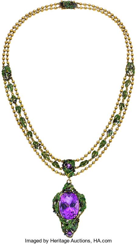Amethyst, Enamel, Gold Necklace, By Louis Comfort Tiffany, Tiffany & Co. ...