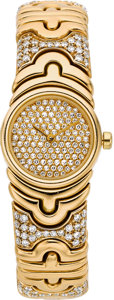 Estate Jewelry:Watches, Bvlgari Lady's Diamond, Gold Parentesi Wristwatch. ...