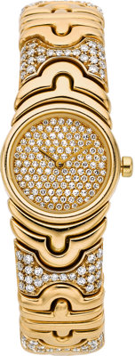Bvlgari Lady's Diamond, Gold Parentesi Wristwatch