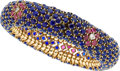 Estate Jewelry:Bracelets, Sapphire, Ruby, Diamond Gold Bracelet, Gübelin. ...