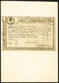 Colonial Notes:Massachusetts, State of Massachusetts Bay Six Percent Treasury Certificate £12,10s Dec. 1, 1777 Anderson MA 12 Very Fine-Extremely Fine.. ...