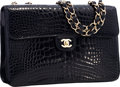 "Luxury Accessories:Bags, Chanel Shiny Black Crocodile Jumbo Single Flap Bag with Gold Hardware . Very Good Condition . 12"" Width x 8"" Height x ..."