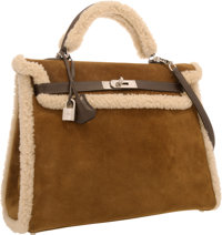 Hermes Limited Edition 35cm Veau Doblis Suede & Mouton Shearling Kelly Bag with Palladium Hardware Excellent Co