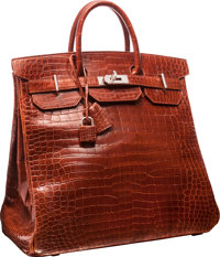 8d836d0deb7 Hermes 40cm Shiny Etrusque Porosus Crocodile HAC Birkin Bag with Palladium  Hardware Very Good Condition <