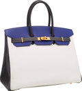 Luxury Accessories:Bags, Hermes Special Order Horseshoe 35cm Blue Electric, White &Graphite Epsom Leather Birkin Bag with Brushed Gold Hardware.G...