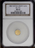 California Fractional Gold: , 1867 25C Liberty Octagonal 25 Cents, BG-741, R.5, MS62 NGC. PCGSPopulation (7/8). (#10568)...