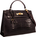 "Luxury Accessories:Bags, Hermes 32cm Shiny Marron Fonce Caiman Crocodile Sellier Kelly Bag with Gold Hardware. Good Condition. 12.5"" Width x 9""..."