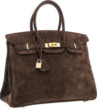 "Hermes 35cm Chocolate Veau Doblis Suede Birkin Bag with Gold Hardware Very Good Condition 14"" W"