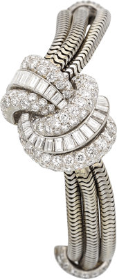 Lady's LeCoultre Diamond, Platinum, White Gold Bracelet Watch, retailed by Van Cleef & Arpels, NY