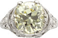 Estate Jewelry:Rings, Edwardian Fancy Light Brownish Yellow Diamond, Diamond, PlatinumRing. ...