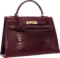"""Hermes 32cm Shiny Bordeaux Crocodile Sellier Kelly Bag with Gold Hardware Good Condition 12.5"""" Wi"""