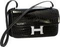 Luxury Accessories:Bags, Hermes 25cm Shiny Graphite Nilo Crocodile Double Gusset ConstanceElan Bag with Palladium Hardware. Pristine Condition. ...
