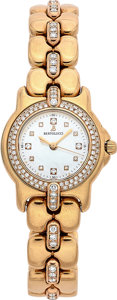Estate Jewelry:Watches, Bertolucci Lady's Diamond, Mother-Of-Pearl, Gold PulchraWristwatch. ...