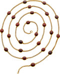 Estate Jewelry:Necklaces, Victorian Garnet, Gold Necklace. ...