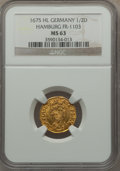 German States:Hamburg, German States: Hamburg. Free City gold 1/2 Ducat 1675-HL MS63 NGC,...