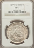 Chile, Chile: Republic Peso 1877-So MS63 NGC,...