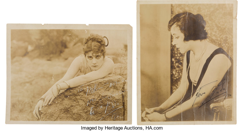 Movie TV MemorabiliaAutographs And Signed Items A Theda Bara Pair Of