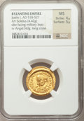 Ancients:Byzantine, Ancients: Justin I (AD 518-527). AV solidus (20mm, 4.45 gm,6h). ...
