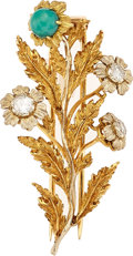 Estate Jewelry:Brooches - Pins, Diamond, Turquoise, Gold Brooch, Buccellati. ...