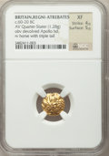 Ancients: BRITAIN. Atrebates & Regni. Uninscribed. Ca. 60-20 BC. AV quarter stater (1.28 gm).