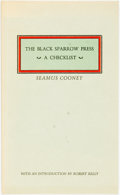 Books:Reference & Bibliography, Seamus Cooney. A Checklist of the First One Hundred Publicationsof the Black Sparrow Press. Los Angeles: Black Spar...